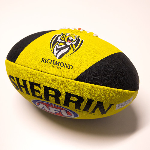Yellow and Black Sherrin football, with the Richmond logo.