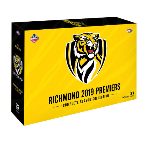 Complete set of 2019 Season Games from round 1 through to the 2019 Grand final. Packaging is yellow and black with the Richmond logo on the front of the package.