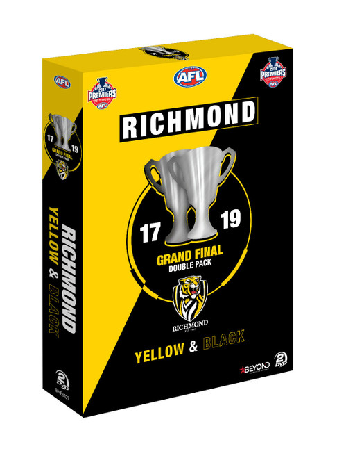 2017 and 2019 Premiers Grand Final DVD dual pack. Packaging is yellow and black diagonally striped with an image of two premiership cups on the front.