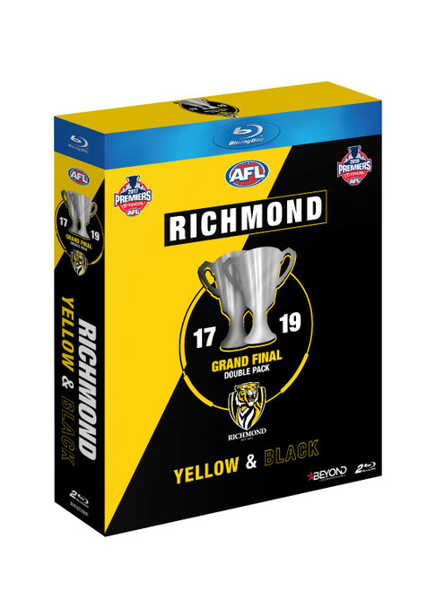 2017 and 2019 Premiers Blu-Ray compatible DVD Grand Final pack. Packaging is yellow and black diagonally striped with an image of two premiership cups on the front.