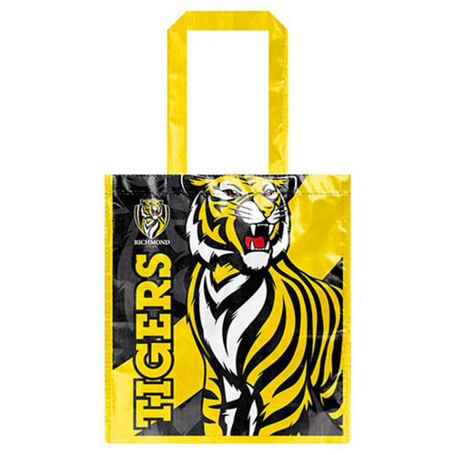 Yellow and Black laminated shopping bag featuring an image of a tiger and the word TIGERS printed on both sides.