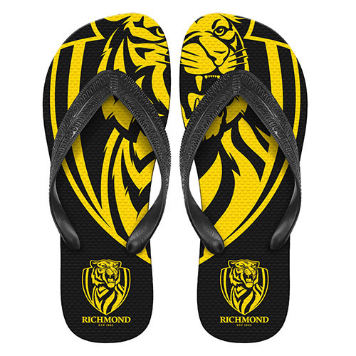 Yellow and black Richmond tigers rubber thongs with the tiger logo on it. Size large.