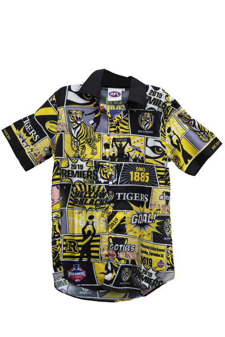 A Short sleeved Premiers Party Shirt in yellow and black, made from polyester with premier graphics all over the collared shirt.
