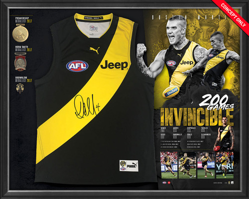 """Dustin martin imagery showing action shots from different games he has played. It shows him kicking the ball, the """"Don't Argue"""" pose, and celebration shots. This also includes his statistics (Games played, disposals, tackles, marks, kicks, goals and clearances) and replica medals that he has won (premiership medal, norm smith and brownlow medals.) This also includes and home Guernsey personally signed by dustin martin."""
