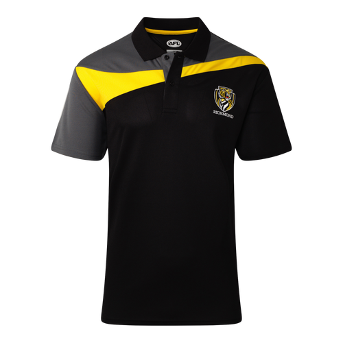 A black colour based polo with a strip of yellow from the arm to the opposite shoulder. Finishing with a grey top and the club emblem displayed on the left hand side.