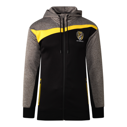 A black colour based zip up hoodie with a strip of yellow from the arm to the opposite shoulder. Finishing with a grey hood and the club emblem displayed on the left hand side.