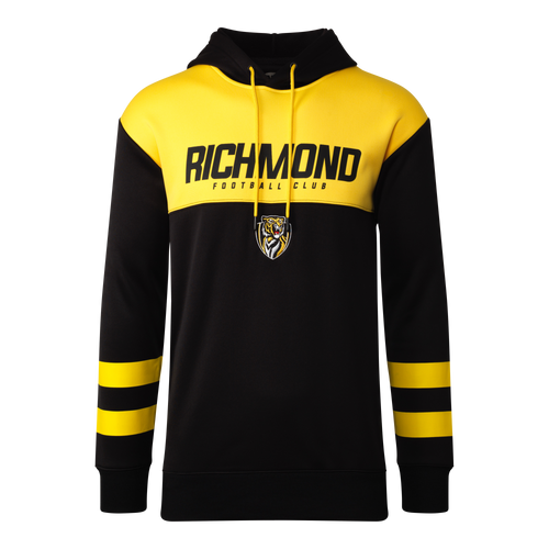 "A Yellow and black hoodie, with yellow strips around the sleeves, also displaying ""RICHMOND"" across the chest with the club logo shown below."