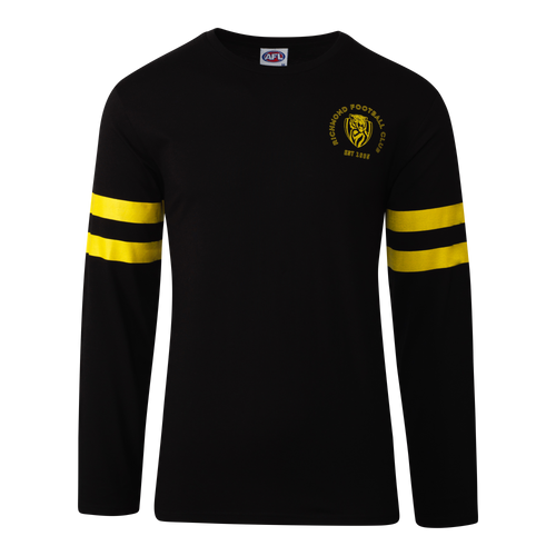 A Black based coloured long sleeve tee, with yellow horizontal strips around the arms of the tee, also displaying the club emblem of the left hand side of the tee.