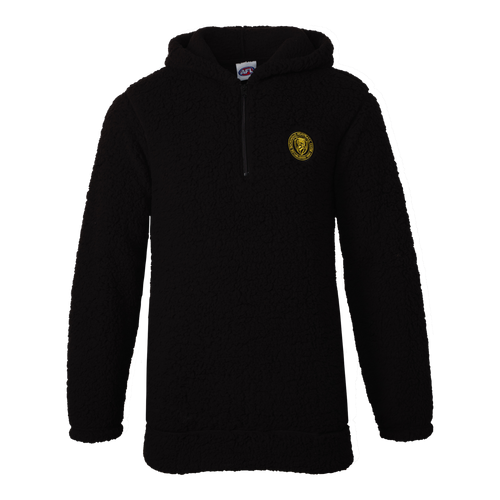 A Black based fleece hoodie, displaying a stitched on club emblem patch.