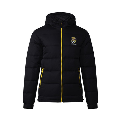 A Black based zip up jacket, with yellow piping along the zipper alongside the club emblem displayed on the left side of the jacket.