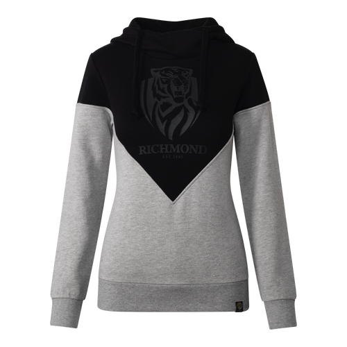 A Grey and Black coloured hoodie, displaying the club emblem in a black on black effect over the chest.