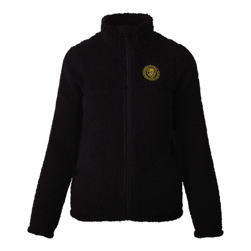 A Black based fleece zip up jacket, displaying a stitched on club emblem patch on the left hand side of the jacket.