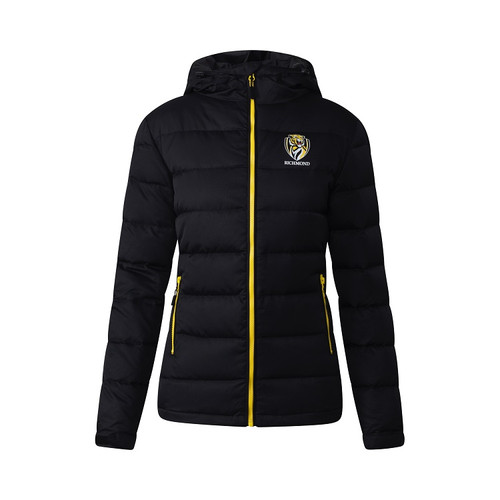 A Black coloured jacket with yellow piping down the zip of the jacket, also displaying the club logo on the left hand side of the jacket.