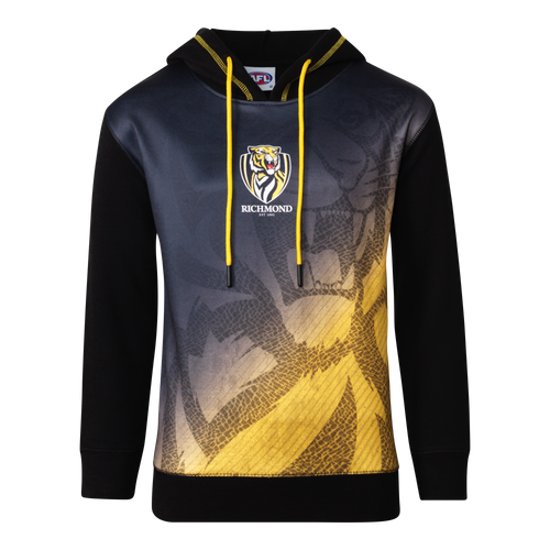 A Black based hoodie with a fading design incorporating the yellow down the bottom of the piece. With yellow drawstring cords, and the club emblem displayed in the middle of the item.