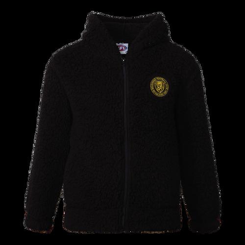 A Black sherpa fleece zip up jacket, with a stitched on Richmond emblem patch.