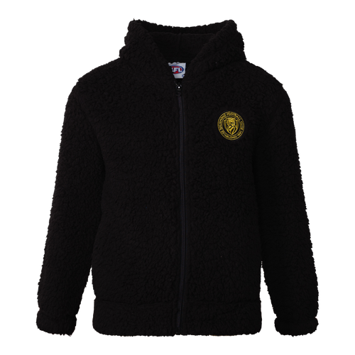 A Black sherpa fleece zip up jacket, with a stitched on Richmond emblem patch.
