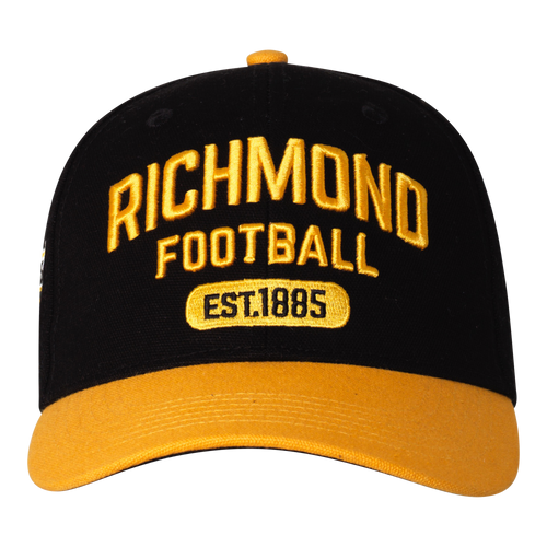 """A Black base cap with a yellow peak and yellow text that has """"RICHMOND"""" and the clubs establishment date on it."""