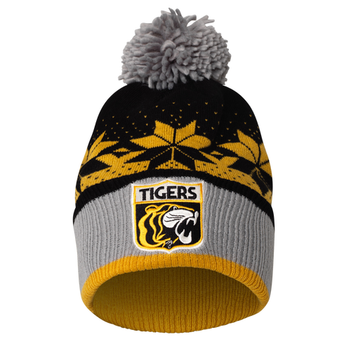 A yellow, grey and black mixed colour beanie with a retro style club emblem on the front along with a grey pom pom on top.