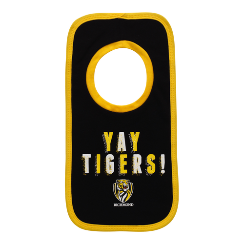 "A Black based bib with ""YAY TIGERS"" on it along with the club logo below it. This bib also has yellow piping around the outside."