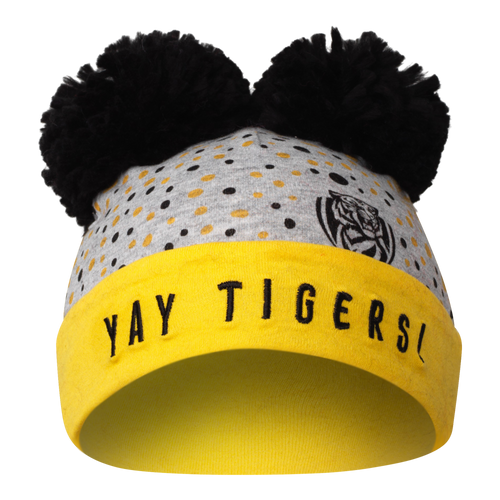"A Grey based beanie, with black pom poms and a yellow strip running across the forehead to the back. Displaying ""YAY TIGERS"" along the front yellow strip with the combination of yellow and black dots on the grey part."