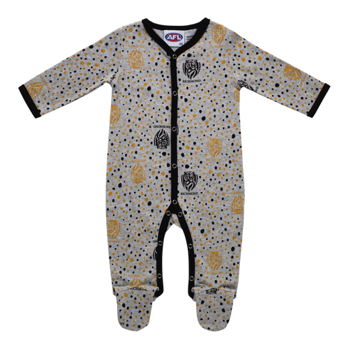 A Grey based baby onesie with black piping on the seams. Displayed on it are a mix of black and yellow dots along with the Richmond Club logo.