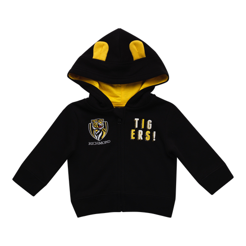 "A Black based hoodie with the club logo displayed on the right hand side of the jacket. On the left hand side of the jacket it has ""TIGERS!"" broken down over two lines. The hood has two little ears on top with yellow lining on the inside."