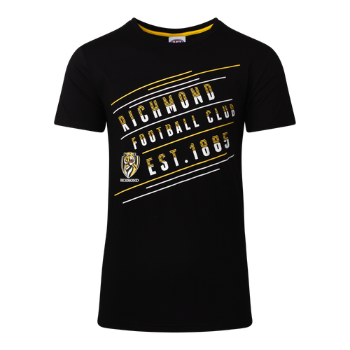 "A Black short sleeve Pyjama Tee with ""Richmond Football Club"" displayed over three lines on an angle on the front, as well as displaying the club logo and establishment date below the writing towards the middle of the tee."