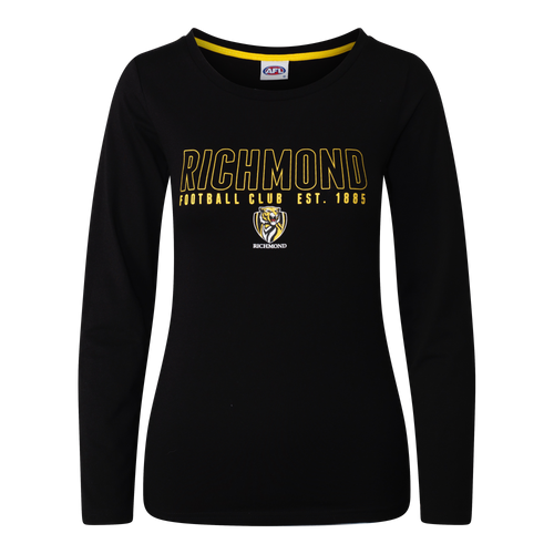 "A Black long sleeve Pyjama Tee with ""Richmond"" displayed over one line on the front, as well as displaying the club logo in the middle chest area of the tee."