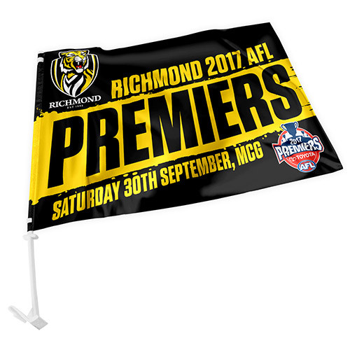 Car flag on pole with 2017 premiers text.