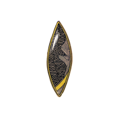 Representative 2014 dreamtime round lapel pin. Oval shaped with indigenous artwork on front.