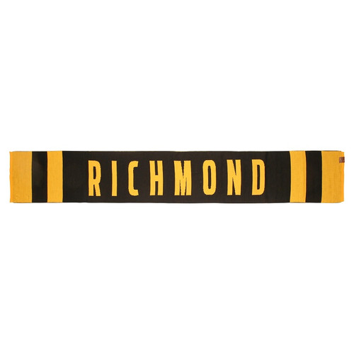 Yellow and Black 100% Merino wool scarf, with text RICHMOND across middle of scarf.