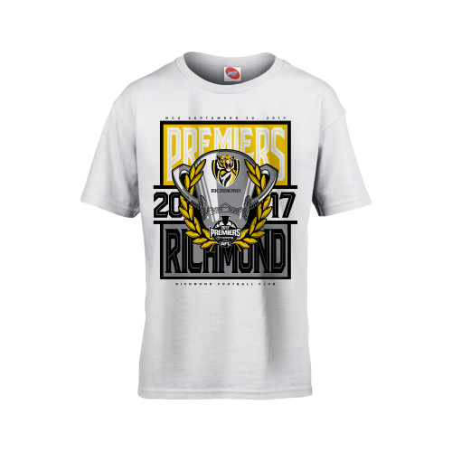 White youth tee with image of the 2017 Premiership cup.