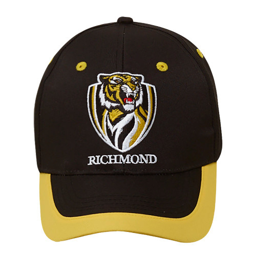 Black hat with yellow lining on edge of brim. Features the official Richmond FC logo on the front of the cap.