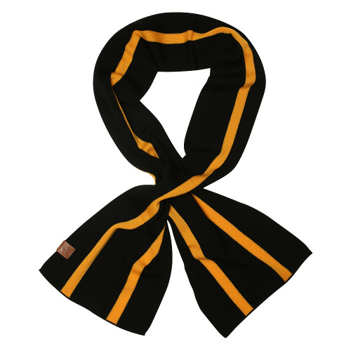 Black 100% merino wool scarf with yellow lengthways stripes.