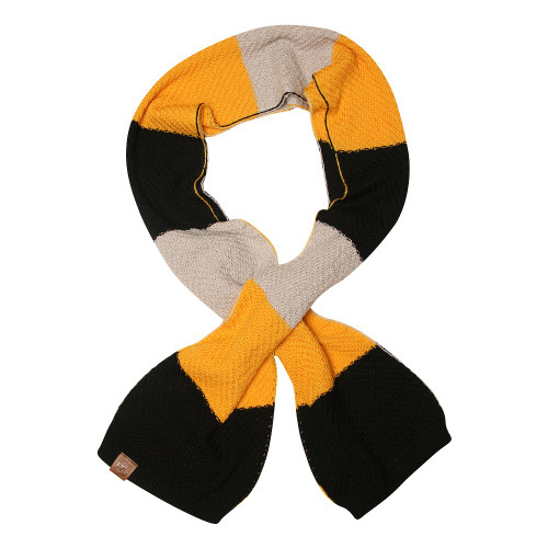 Yellow, grey and black 100% Merino wool chunky knit scarf.