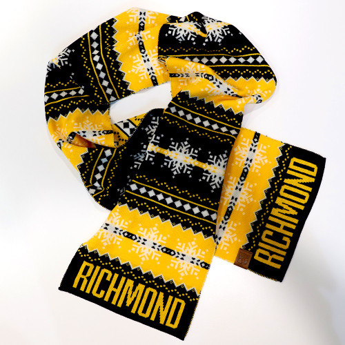 Yellow, black and white 100% Merino Wool scarf. Features the word RICHMOND at each end.