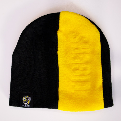Black beanie with yellow polar fleece panel, featuring TIGERS embossed and a Richmond FC logo tag.