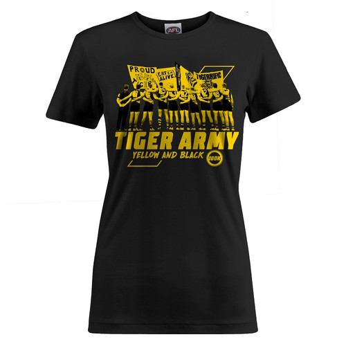 "Black tee featuring text ""TIGER ARMY"" and images of RFC players and cheersquad banners in yellow print."