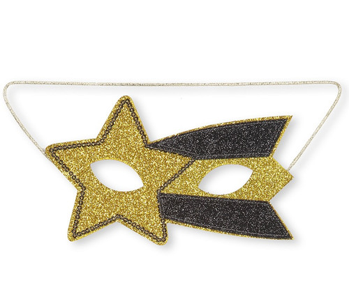 A yellow glittery star on one eye and a yellow and black stripe of the other eye. It has an elastic string to hold it in place.