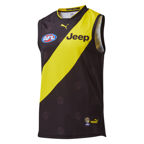 Black Guernsey with Yellow strip, featuring the AFL logo and Jeep symbol on chest and nib logo on the back. Sleeveless.
