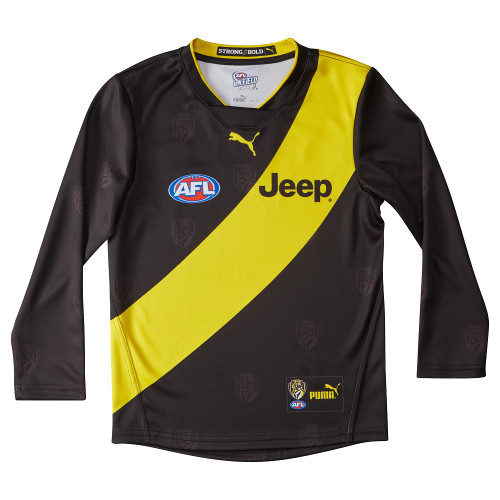 Black Guernsey with Yellow strip, featuring the AFL logo and Jeep symbol on chest and nib logo on the back. Long Sleeves