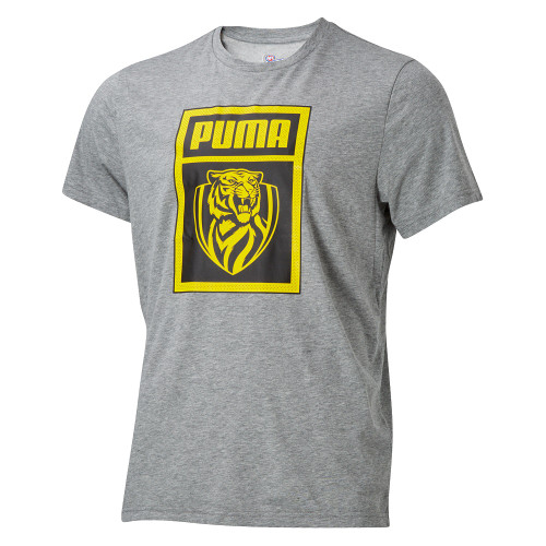 Grey fitted tee, Square graphic on the front with PUMA name and RFC logo in yellow with black background. Small Black Puma  logo on the back of the neck.