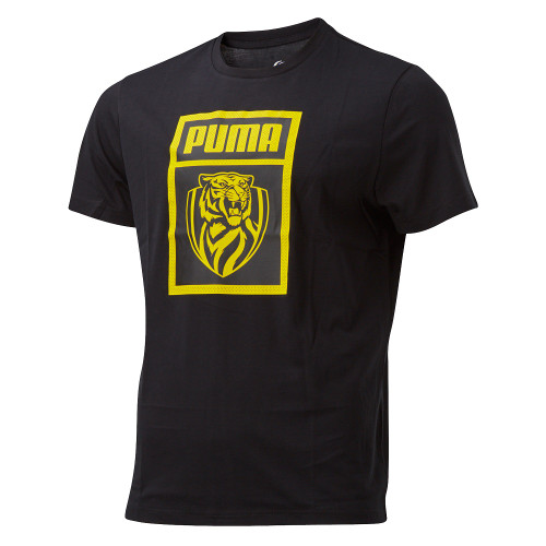 Black fitted tee, Square yellow graphic on the front with PUMA name and RFC logo with black background. Small yellow Puma  logo on the back of the neck.