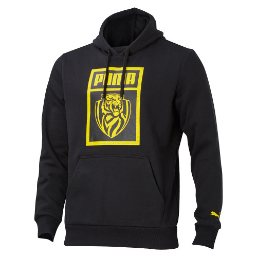 Black fitted hoodie, Square yellow graphic on the front with PUMA name and RFC logo with black background. Small yellow Puma  logo on the bottom of sleeves. Draw strings.