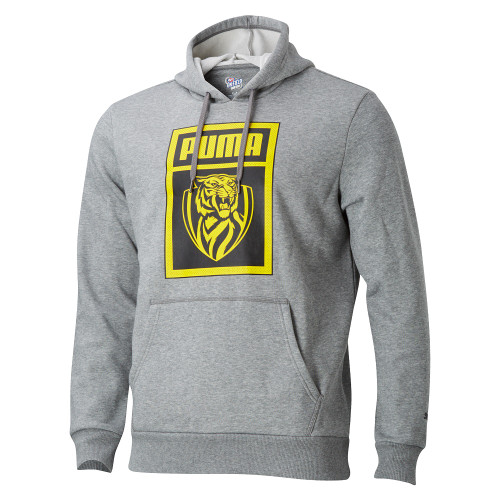 Grey fitted hoodie, Square graphic on the front with PUMA name and RFC logo in yellow with black background. Small Black Puma  logo on the sleeves. Draw strings on hood.