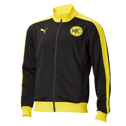 Black jacket with yellow collar, strips down the sleeves and waist band. Full length zip on the front. Yellow PUMA symbol on the back of the neck and chest. RFC logo on the other side of the chest.