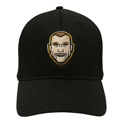Plain black cap with curved peak. A small cartoon version of Dustin Martin's face on the front.