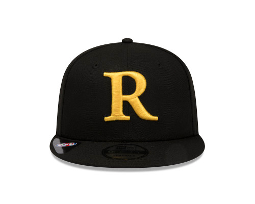 "Plain black cap. The letter ""R"" in yellow on the front and a small New Era logo on the side. It has a completely flat peak."