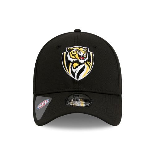 Plain black cap. Curved peak. No adjustable back. Team logo on the front.
