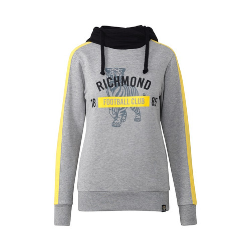 "primarily grey woman's hoodie. Black hoodie with draw strings. Yellow strips down the sleeves. On the front of the hoodie it has a black faded out tiger and over the top text saying ""Richmond Football Club"""